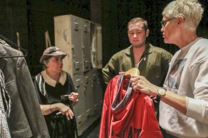 Susan Jackson coordinates actors backstage in Diego Rivera Theatre on Nov. 5.  (Photo by Natasha Dangond)