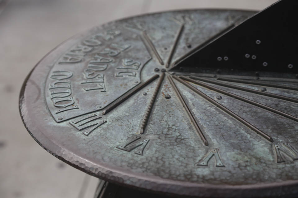 The Sundial, created by August Tisselinck, is located at the south side closest to Ram Plaza at Cloud Hall Plaza. ( Photo by Natasha Dangond)