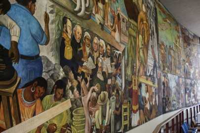 Diego Rivera's mural, Marriage of the Artistic Expression of the North and of the South on this Continent, located inside the Diego Rivera Theatre. (Photo by Natasha Dangond)