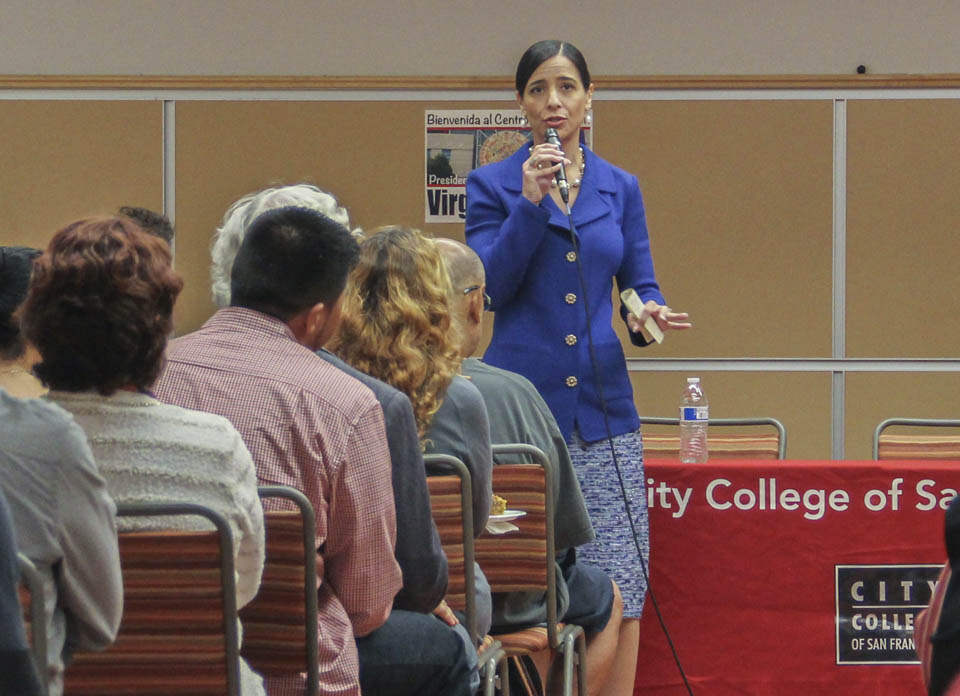 Virginia Parras  speaks to students at Mission Campus, Oct. 22, 2014. (Photo by Khaled Sayed)