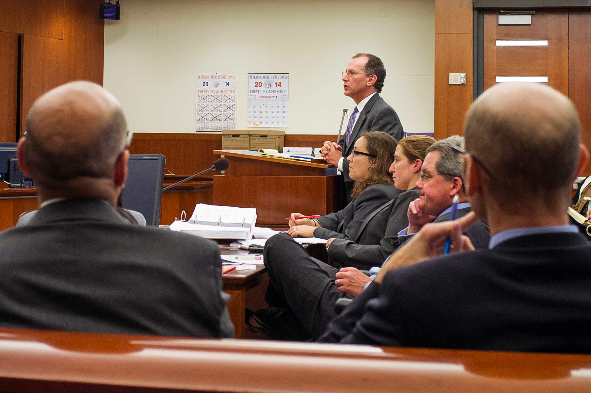 Attorney Andrew Sclar, representing the ACCJC, cross-examines California Community Colleges Chancellor Brice Harris on Day 1 of the City College accreditation trial at San Francisco Superior Court. Monday, Oct. 27, 2014. Harris spoke highly of the quality of education received by City College's 70,000 students. (Photo by James Fanucchi)