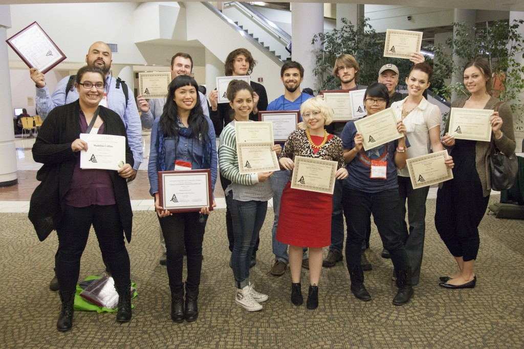 Journalism students from The Guardsman and Etc. Magazine in Fall 2014 win awards during the Journalism As¬sociation of Community Colleges Norcal Conference in Sacramento.