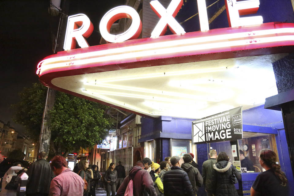"Movie goers line up at the Mission district's Roxie Theater on the opening night of CCSF's 4th annual ""Festival of the Moving Image"" screening. November 19th, San Francisco California. (Photo by Natasha Dangond)"