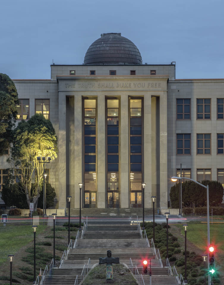 "City College adopted the phrase, ""The Truth Shall Make You Free"" as the official college motto in 1948.  The inscription is carved into the facade of Science Hall facing Phelan Avenue.  Nov. 12, 2014 Ocean Campus.  (Photo by Nathaniel Y. Downes)"
