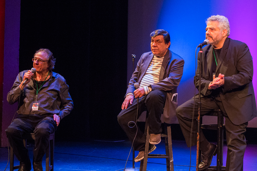 (L-R) Producer Lou Dematteis, Production Designer Rene Yanez and Producer/Director Dante Betteo during a Q&A session after the 2 p.m. screening of The Other Barrio on at Brava Theater, Sunday, Feb. 8. (Photo by Nathaniel Y. Downes)