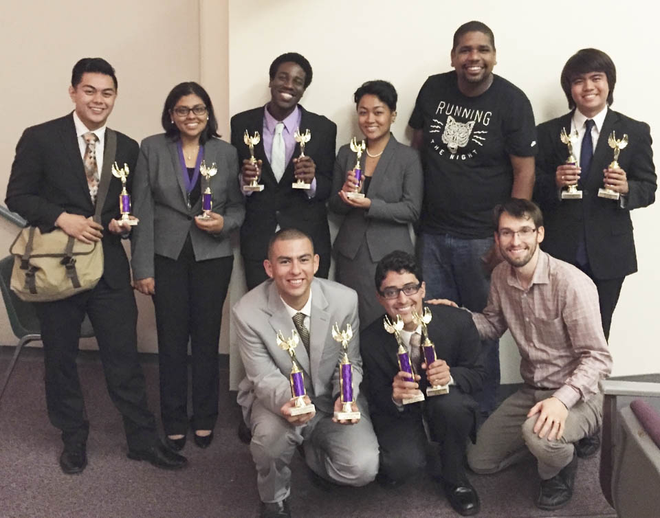 City College's speech and debate team pose with their new awards on Sunday, Sept. 28, 2014 at the Golden Gate Opener speech and debate competition at San Francisco State University. (Photo courtesy of Nathaniel Steele)