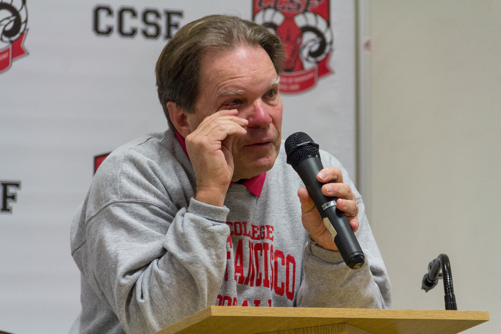 City College football Head Coach George Rush announcing his retirement at a press conference Jan 16, 2015. Photo by Khaled Sayed.