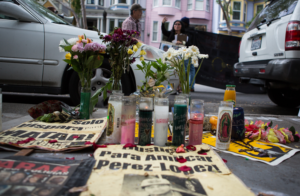 Shrine for Amilcar Perez-Lopez who was killed by Police, at Folsom and 24th streets on Saturday, March 14. (Photo by Khaled Sayed)