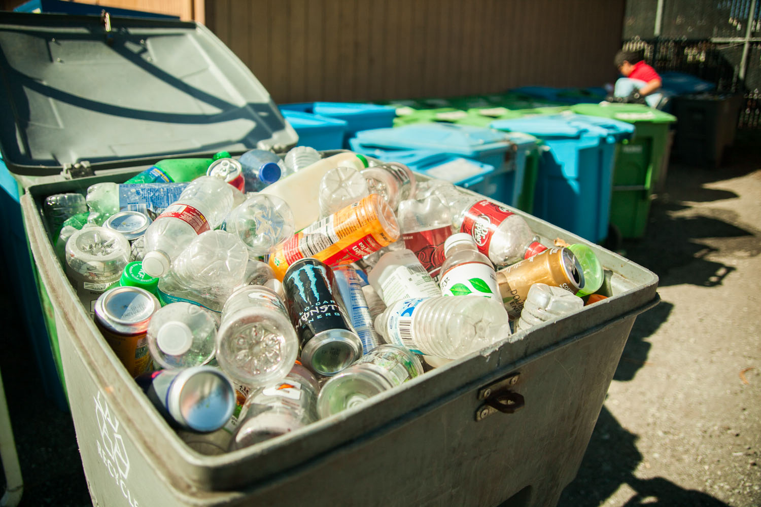 Plastic bottles and cans in a recycling bin at the City College Recycling Department, Ocean Campus on Wednesday, March 4. (Photo by Ekevara Kitpowsong)