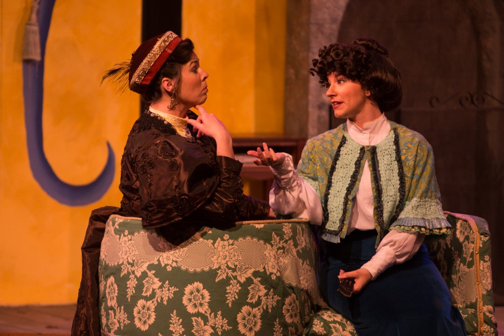 "(L-R) Genevieve Perdue as Raymonde Chandebise and Tatiana Prue as Lucienne Homenides de Histangua ""A Flea in Her Ear"" at City College's Diego Rivera Theatre, Ocean Campus on Saturday, March 14. (Photo by Khaled Sayed)"