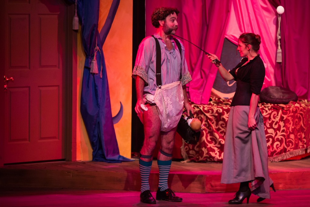 "Brad Robertson as Dr. Finache and Dee Wagner as Eugenie ""A Flea in Her Ear"" at City College's Diego Rivera Theatre, Ocean Campus on Saturday, March 14. (Photo by Khaled Sayed)"