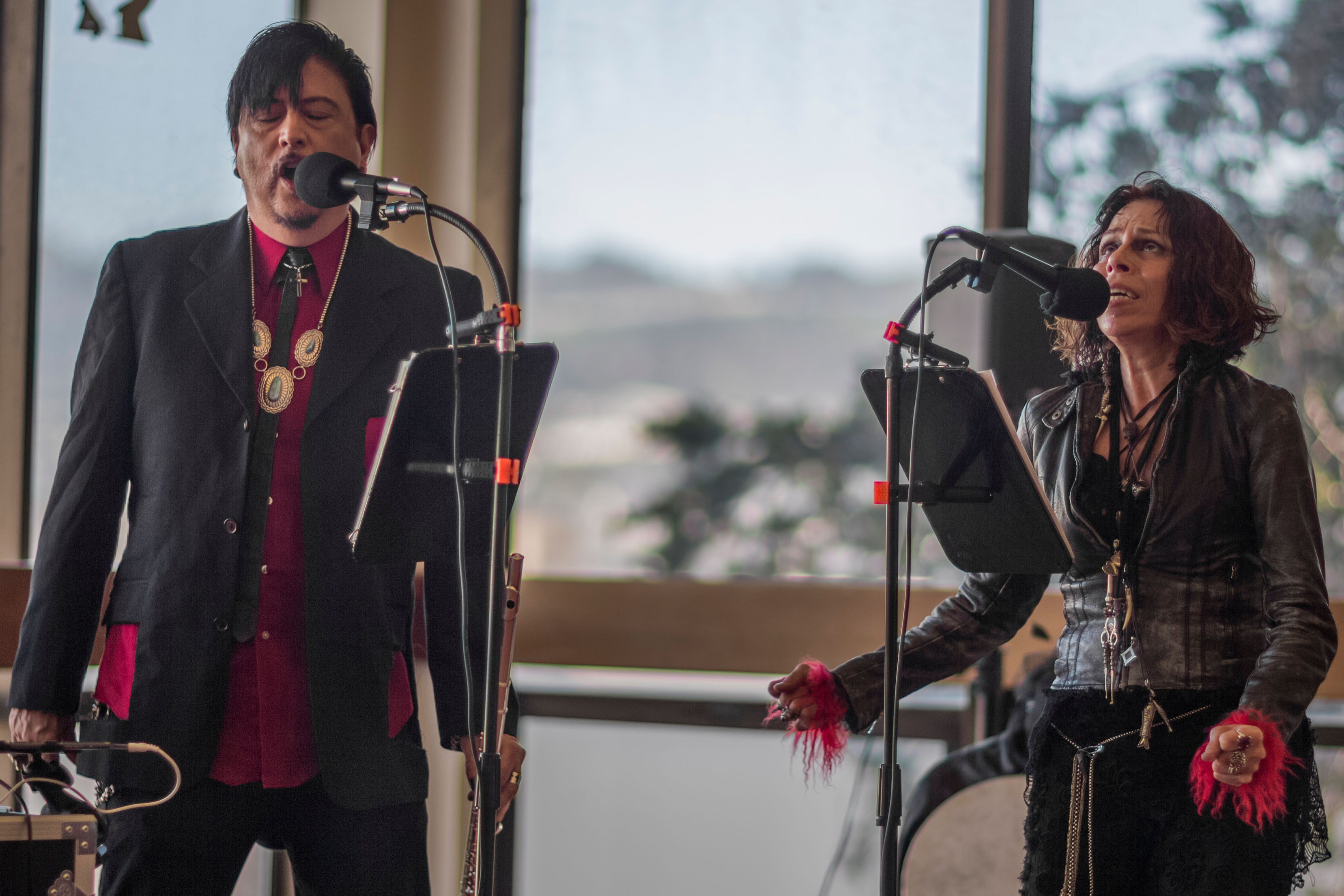 (L-R) Miguel Garcia and deCoy Gallerina were a band performing electronica Native American music at City Cafe on Ocean Campus, Thursday, Feb. 26. (Photo by Nathaniel Y. Downes)