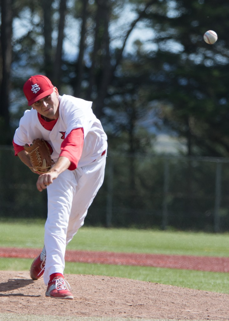 freshman Pitcher, Jacob Taylor got a save in Win over Cabrillo,  Baseball_vs Cabrillo Fri., Apr. 9. Photo by Peter Wong