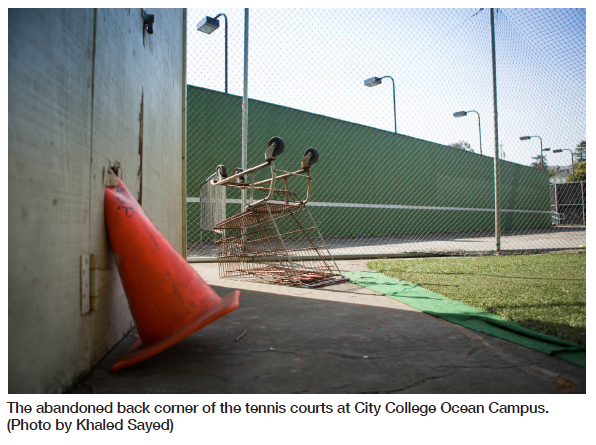 The abandoned back corner of the tennis courts at City College Ocean Campus. (Photo by Khaled Sayed)