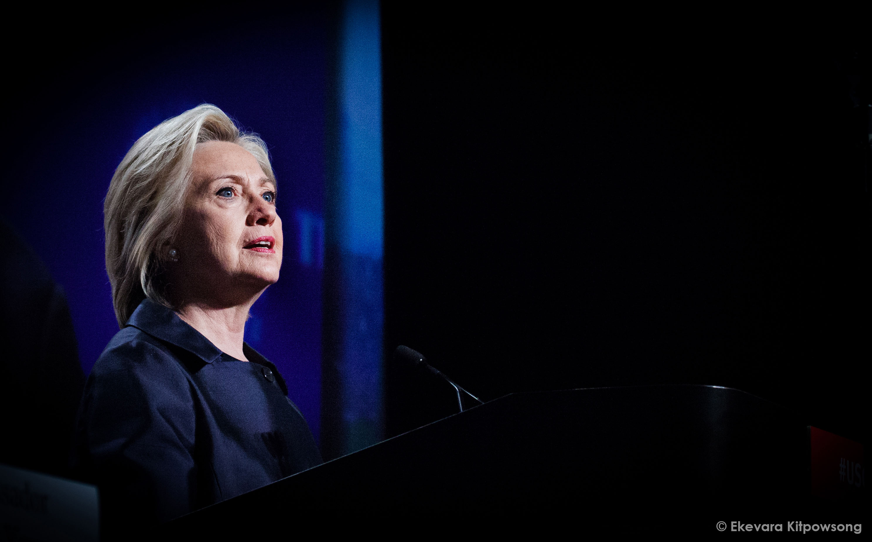 Democratic presidential candidate Hillary Clinton speaks at the U.S. Conference of Mayors in San Francisco on Saturday, June 20, 2015. (Photo by Ekevara Kitpowsong / The Guardsman)