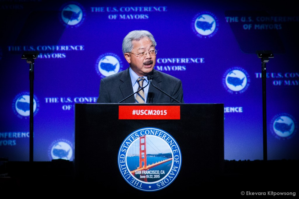 San Francisco Mayor Edwin M. Lee, the conference host, speaks at the United States Conference of Mayors in San Francisco on Saturday, June 20, 2015. (Photo by Ekevara Kitpowsong / The Guardsman)