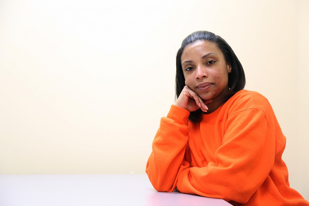 Tamara Washington, 34, has earned one college credit through City College at San Francisco County Jail, and is one of 83 students to complete courses since the program started in July. Friday, Aug. 21, 2015 (Photo by Natasha Dandgond)