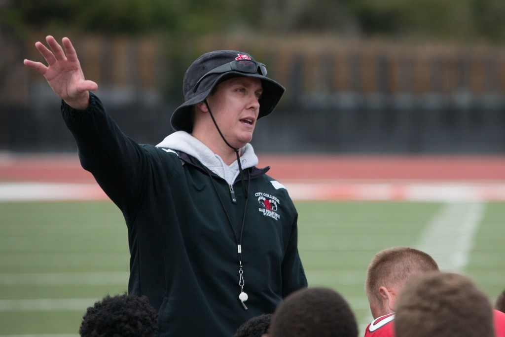 The Rams new head coach Jimmy Collins leads practice. (Photo by Khaled Sayed)