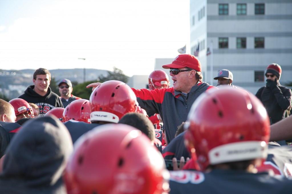 Former Ram's football Coach George Rush speaks to the team after the San Francisco Community College Bowl in December 2013. The Rams won against the Sierra College Wolverines 59-31. (Photos by Santiago Mejia/The Guardsman)