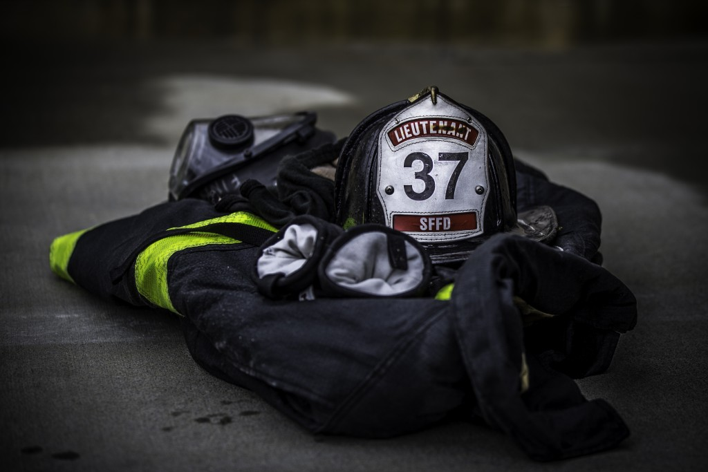 Fire fighter personal protective equipment lays awaiting the next drill at the live fire training that cumulated the 18 weeks of preparation for 29 fire cadets of City College's class at South San Francisco Fire Department Station 61 on Saturday, May 16, 2015. (Photo by Nathaniel Y. Downes/ The Guardsman)