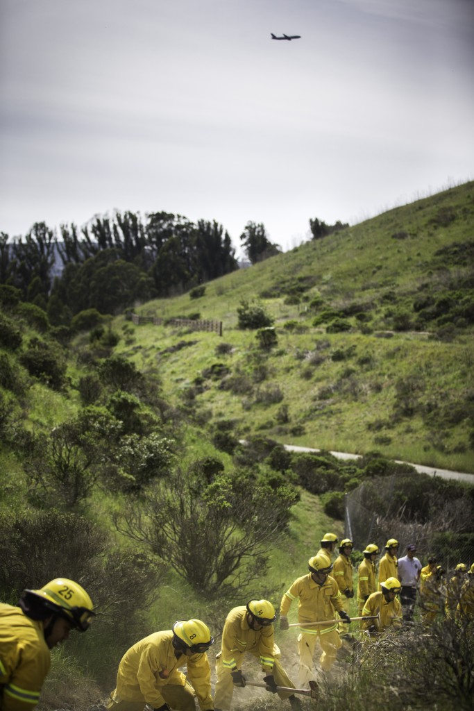 Fire cadets from City College's Fire Fighter One Academy's Class 15 construct fire lines using pick axes, shovels and Pulaskis at San Bruno Mountain State Park on Saturday, March 21, 2015. (Photo by Nathaniel Y. Downes/The Guardsman)