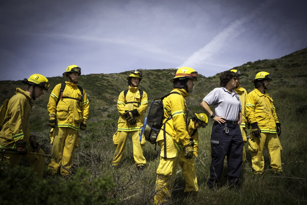 Alpha squad from City College's Fire Fighter One Academy's Class 15 prepare for a progressive hose lay at San Bruno Mountain State Park on Saturday, March 21, 2015. (Photo by Nathaniel Y. Downes/The Guardsman)
