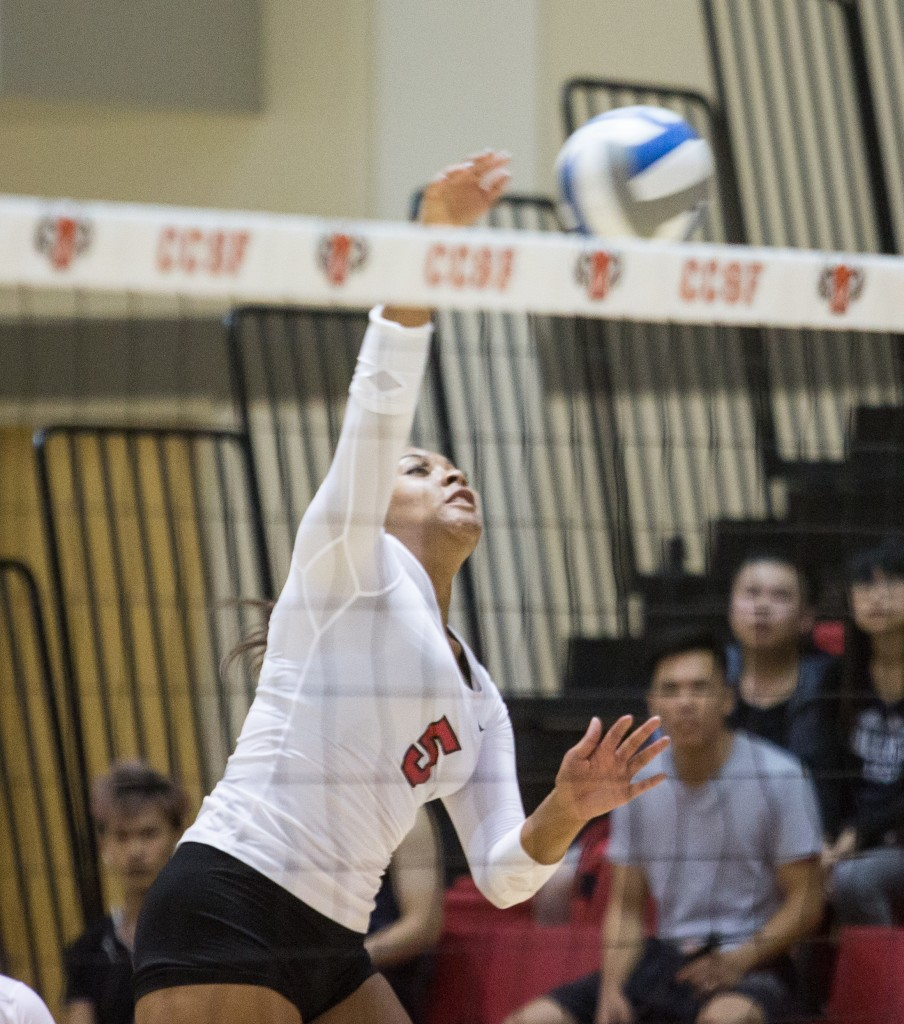 City College Freshman Kijana Best (5) hits the ball across the net and scores a point against West Valley College on Thursday, Oct. 15. (Photo by Khaled Sayed/The Guardsman)