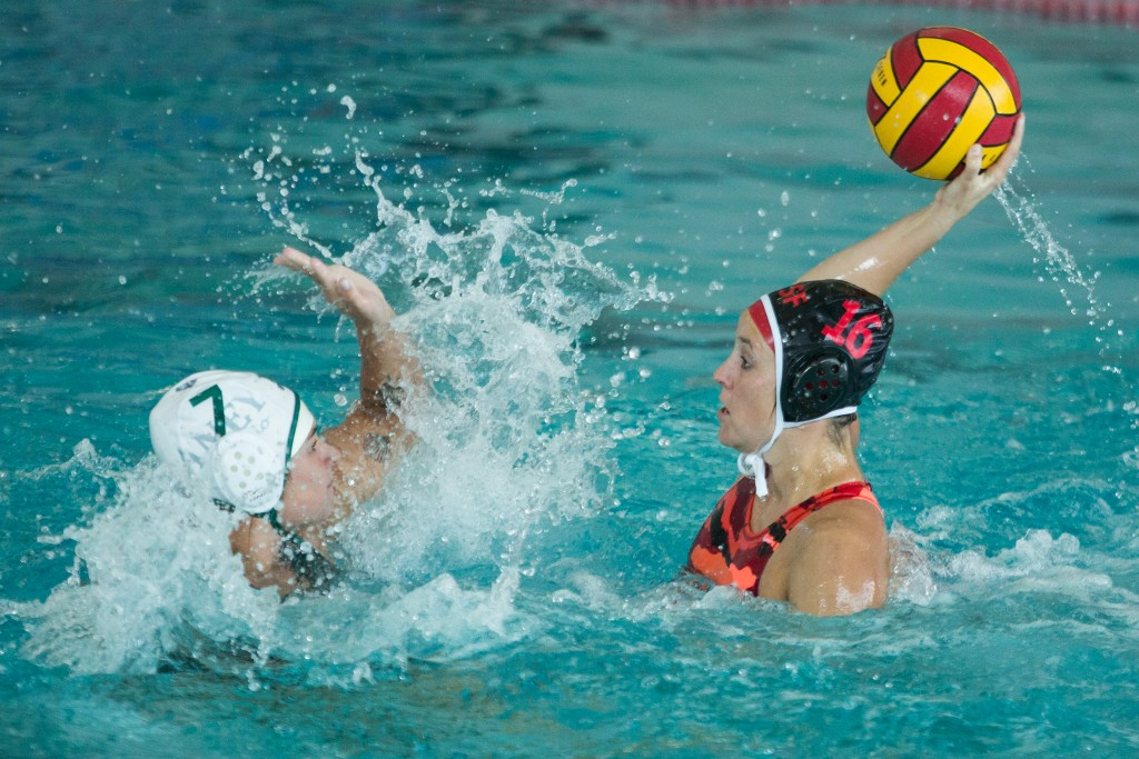 City College Natalie Taylor (16) tries to score during a Water Polo game against Laney College at City College pool on Ocean Campus, Oct. 14, (Photo by Khaled Sayed/ The Guardsman)