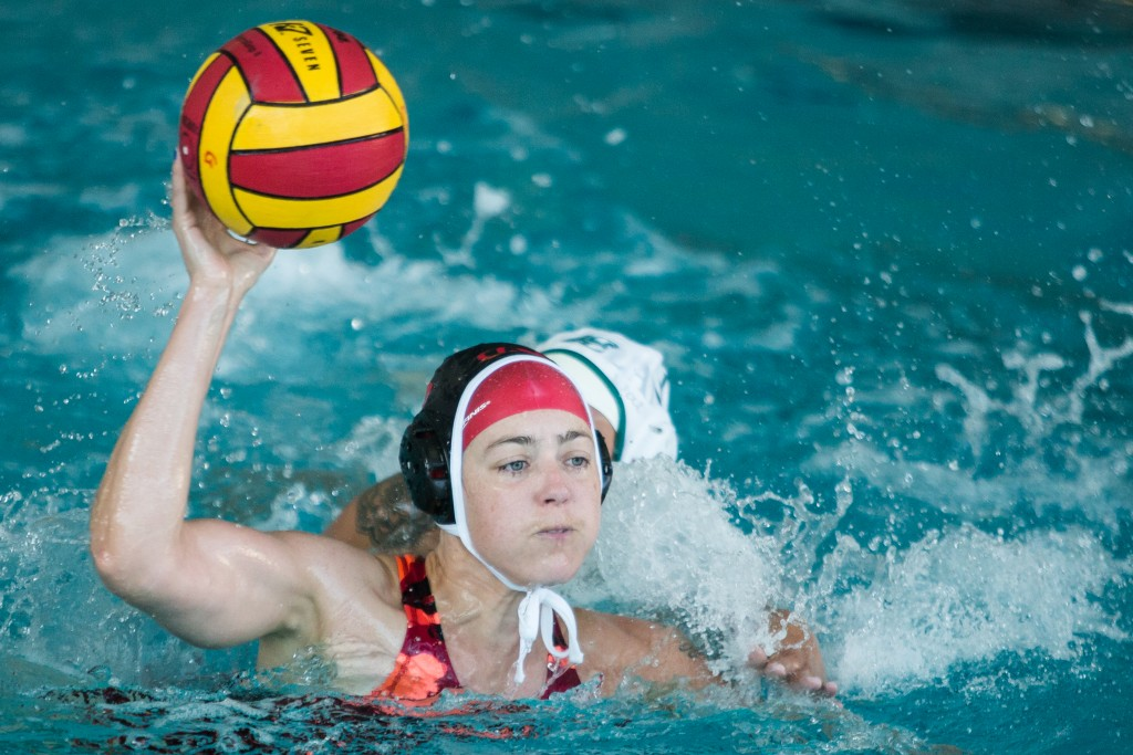City College Brooke Ashton (03) tries to score during a Water Polo game against Laney College at City College pool on Ocean campus Oct 14, (photo by Khaled Sayed)