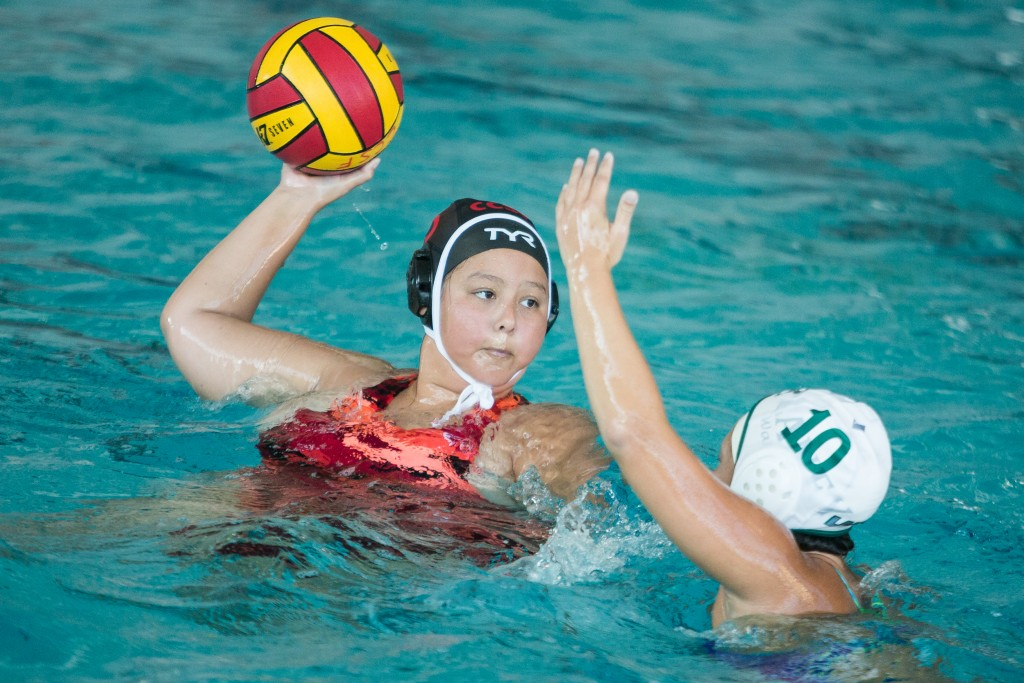 City College Patricia Rivas (05) tries to score during a Water Polo game against Laney College at City College pool on Ocean campus Oct 14, (photo by Khaled Sayed)