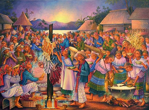 Consagración del Maíz / Blessing of the Corn Pedro Rafaél González Chavajay, 2005. (30 x 40 in.) (Image courtesy of Rita Moran, director of Maya Woman: The Helen Moran Collection, and Joseph Johnston Art Director of Arte Maya Tz'utuhil)