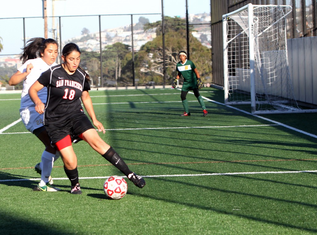 #18 Alejandra Sanchez takes control of the ball against the Panthers of Hartnell College of Salinias Calif.. The Rams go on to win the match 5-1 on Friday, Oct. 2, 2015 at City College home field. (Photo by Franchon Smith/ The Guardsman)