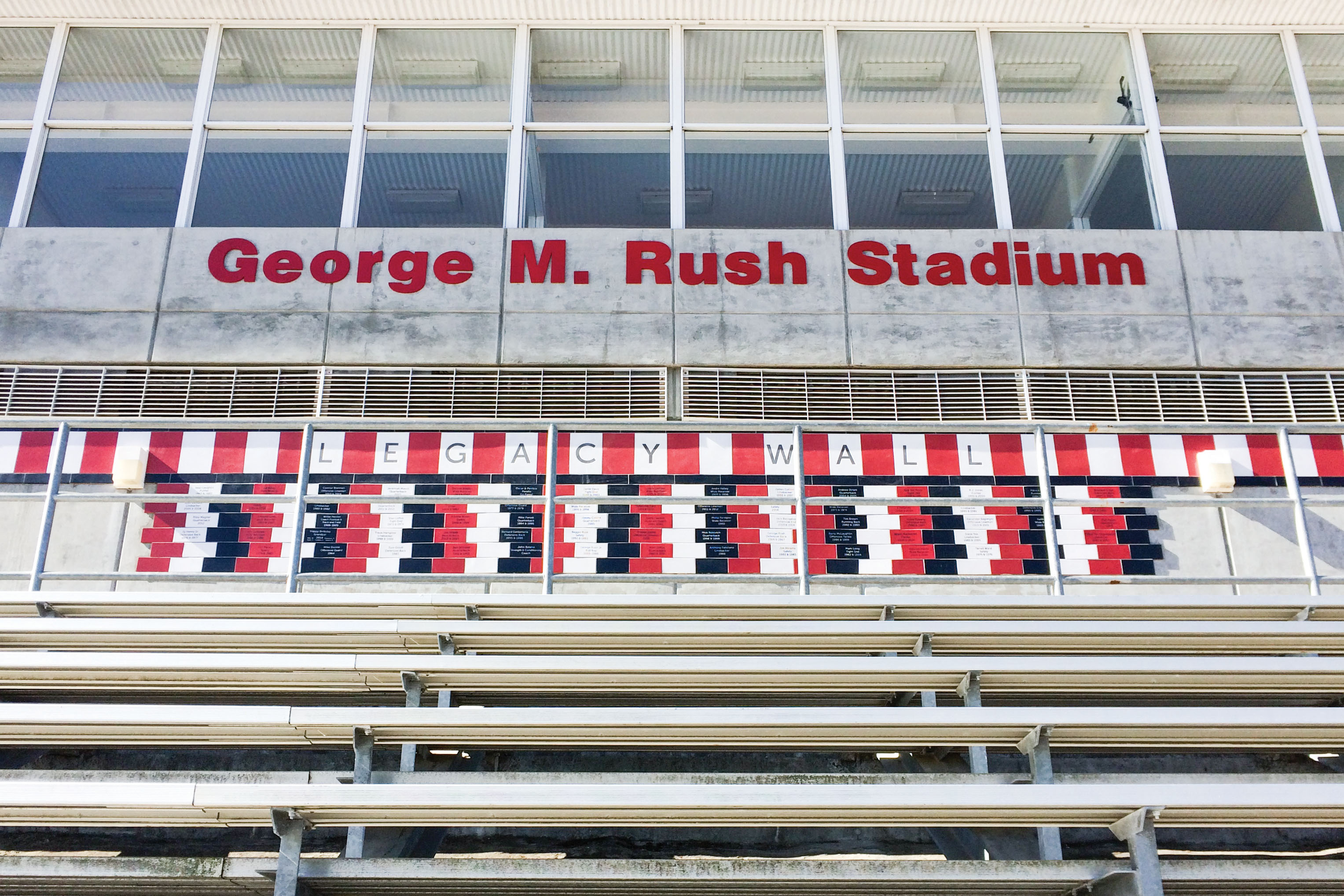The new sign at George M. Rush Stadium. (Photo by James Fanucchi/The Guardsman)