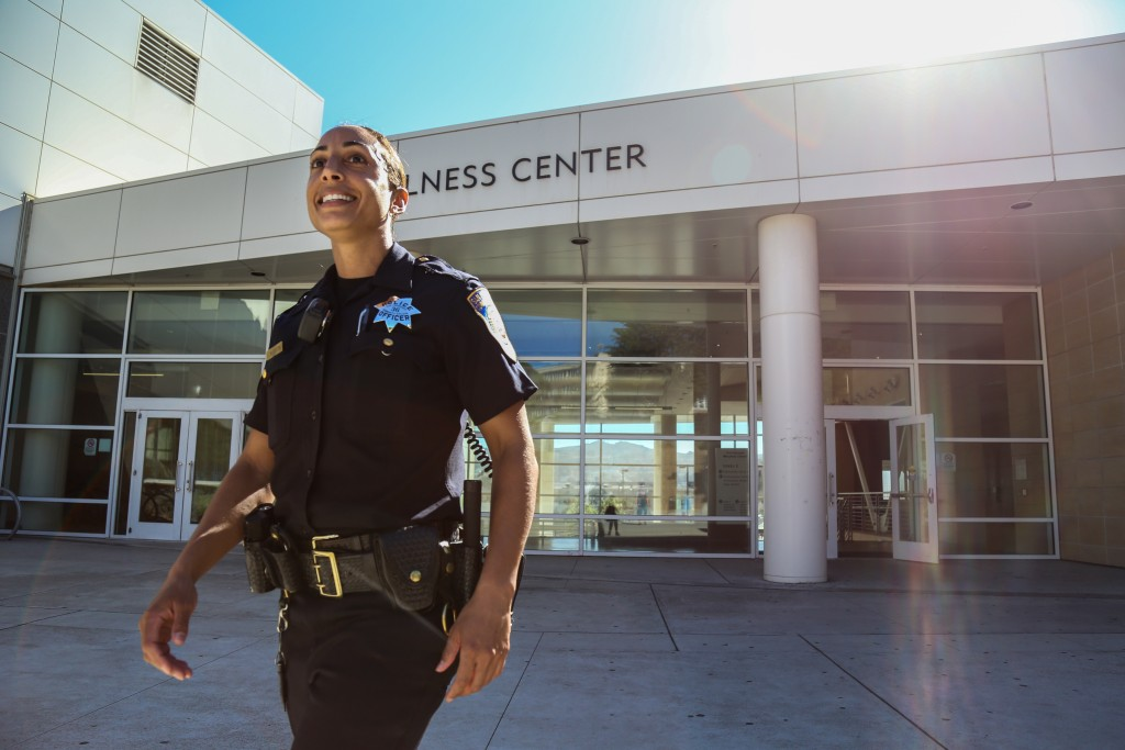 City College Police Officer Erica McGlaston patrols the campus as a part of her daily routine to make herself present to City College students, and look for any suspicious activity. Friday, Oct. 30, 2015. (Photo by Natasha Dangond/ The Guardsman)