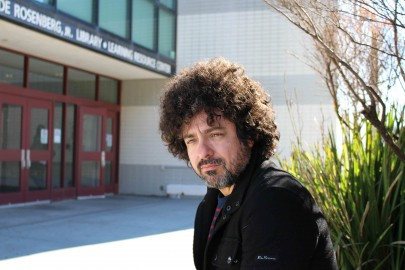 Musician, stand-up comedian, and City College philosophy instructor Michael Morales, outside the Rosenberg Library at Ocean Campus on Monday Nov. 16, 2015. (By Shannon Cole/The Guardsman)
