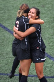 Rams sophomore defender Valentina Camacho Arias (3) hugs Denise Hernandez (6) after Arias scored a goal against Cañada College giving the Rams a 2-1 lead during the first half of a CCCAA women's soccer match at Ocean Campus, on Tuesday Oct. 27, 2015. (Photo by Santiago Mejia/ The Guardsman)