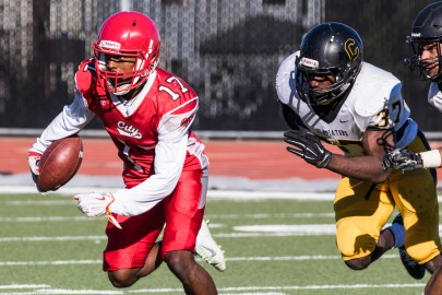 Anthony Porter, #17 sophomore wide receiver being chased by Chabot defenders, Northern California Championship game at George M. Rush Stadium 11-28, photo by Peter Wong / The Guardsman