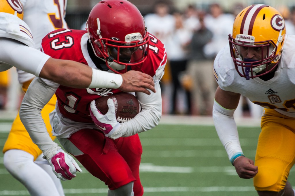 City College's Namane Modise (RB) (13) scores a touchdown against Saddleback College defense during the California Community College state championship game at Rush Stadium on Saturday, Dec. 12, 2015. (Photo by Khaled Sayed/The Guardsman)