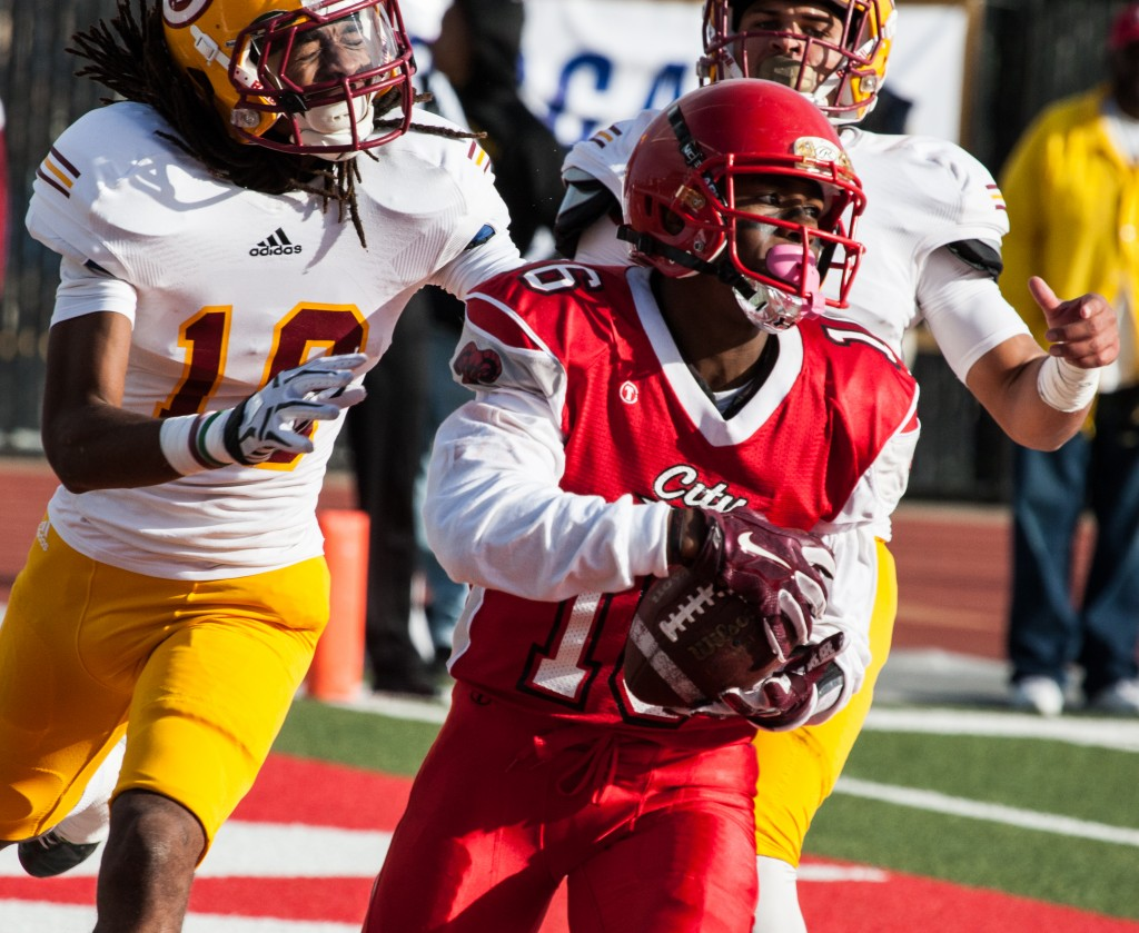 City College's Easop Winston (WR) (16) scores a touchdown against Saddleback College defense during the California Community College state championship game at Rush Stadium on Saturday, Dec. 12, 2015. (Photo by Khaled Sayed/The Guardsman)