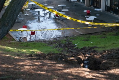 CCSF Building and grounds staff work on fixing the burst pipe that shut down the school at the main campus on Phelan. {San Francisco}, {Calif.,}. {December} {23}, {2015}. ({Franchon Smith}/Etc. Magazine)