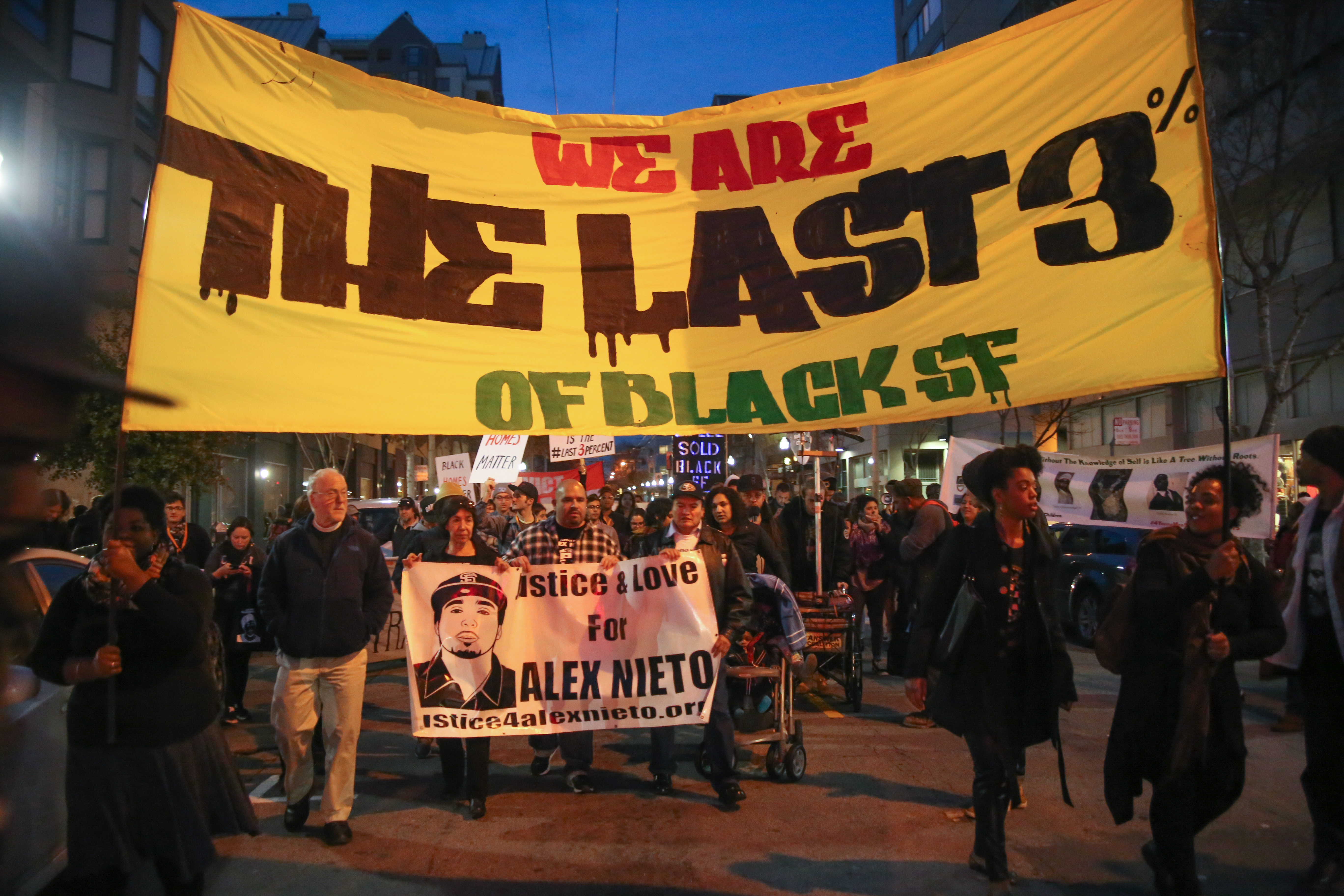 Protestors march down the Fillmore district during a demonstration against displacement of minority communities in San Francisco and to demand justice for the family of Mario Woods and Alex Nieto in San Francisco on January 15, 2016. (Photo by Joel Angel Juarez/ Special to The Guardsman)