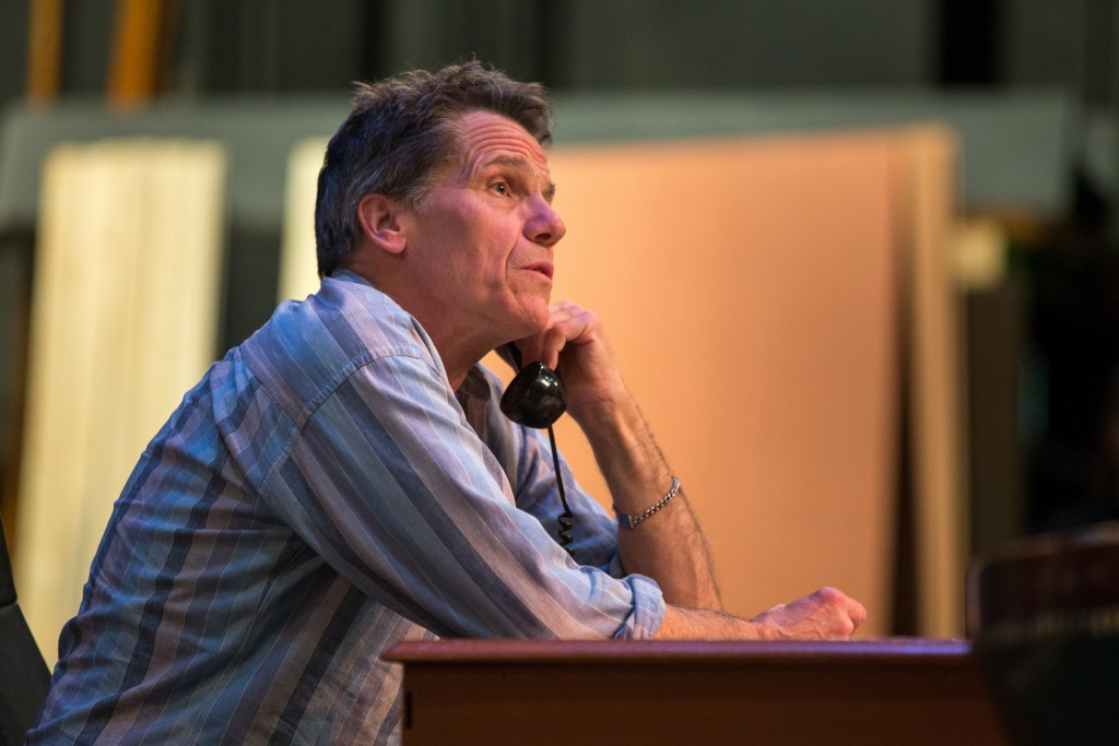 """Catz Forsman who plays the part of Lyndon B. Johnson in """"All the Way"""" runs lines during a rehearsal at the Diego Rivera Theater on Friday, Feb. 19, 2016 in San Francisco, Calif. (Photo by Nathaniel Y. Downes)"""