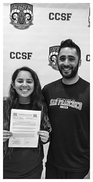 City College soccer co-captain Raquel Herrera and Rams soccer coach Gabe Sausecdo celebrate Herrera's commitment to Lenoir-Rhyne University on Feb. 5, 2016.