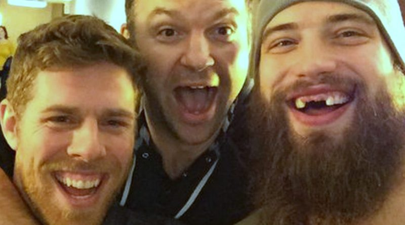 Left to right: Joe Pavelski, John Scott and Brent Burns (Photo courtesy @SanJoseSharks)
