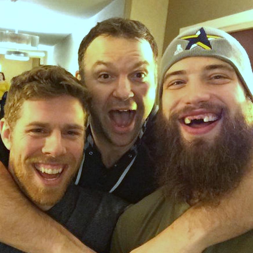 Left to right: Joe Pavelski, John Scott and Brent Burns (Photo courtesy @SanJoseSharks)