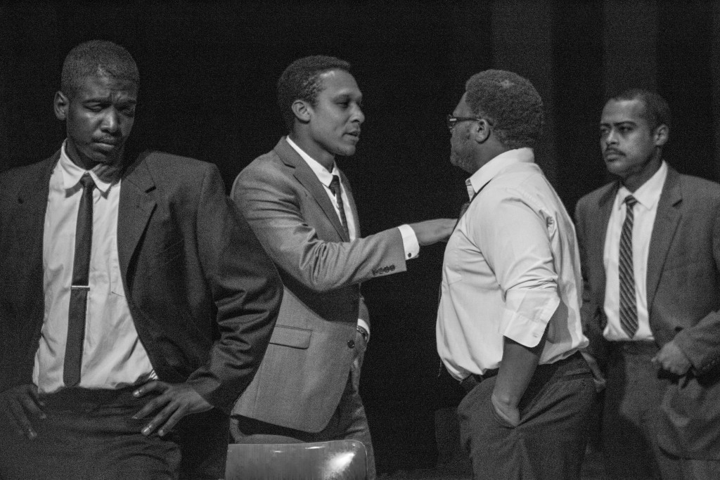 """Rodger Lee (far left), Hashim Jacobs (left), Jamil Hawkins (right), and Gilberto Polanco (far right) in City College's production of """"All the Way"""" on Sat. March 6, 2016. (Photo by Gabriella Angotti- Jones/The Guardsman)"""