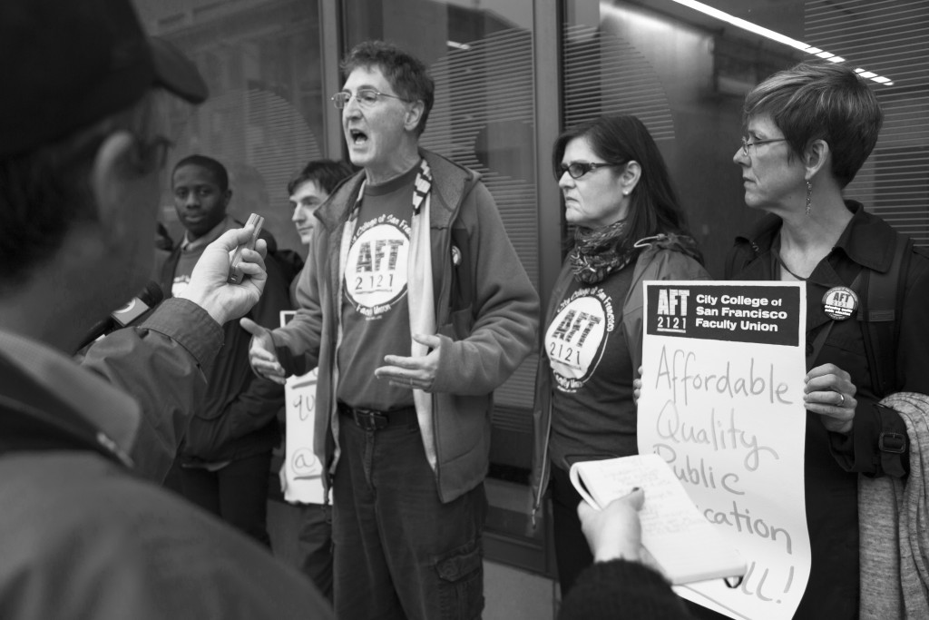 Tim Killikelly, President of American Federation of Teachers 2121, speaks with press outside City College Chinatown campus on March 10, 2016. (Photo by Gabriella Angotti-Jones/The Guardsman)