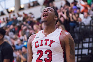 Playoff MVP Jalen Canty (23) breathes a sigh of relief as the Rams clinch the California Community College Athletic Association men's basketball title in Livermore, Calif. on March 13, 2016. (Photo by Peter Wong/Special to The Guardsman)