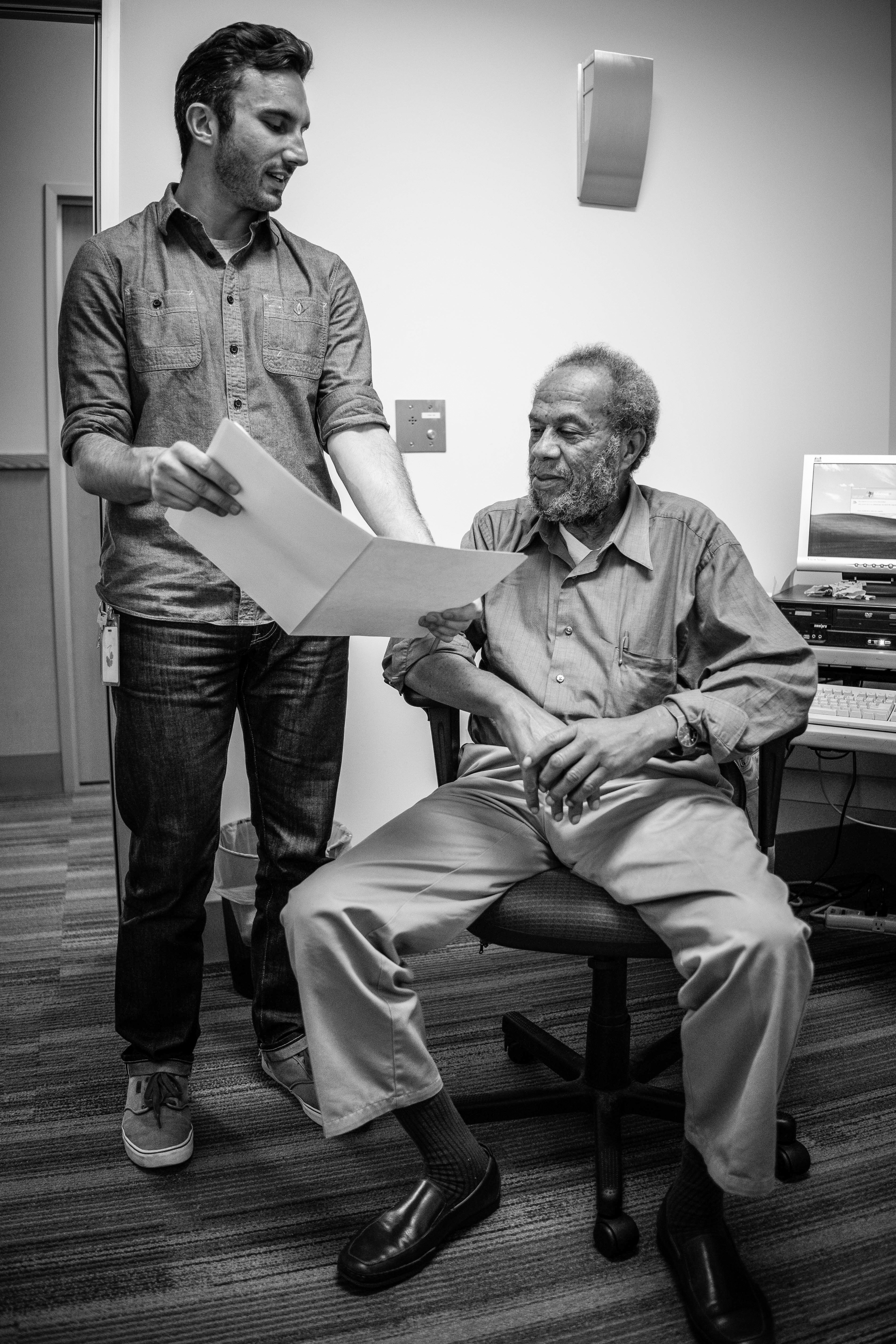 Christopher Brodie and Sam Edwards both work in City College's Health Center. Sam Edwards is a licensed therapist and helps with a variety of group counseling services on campus. March 16, 2016. (Photo By Amanda Aceves/Special to The Guardsman)