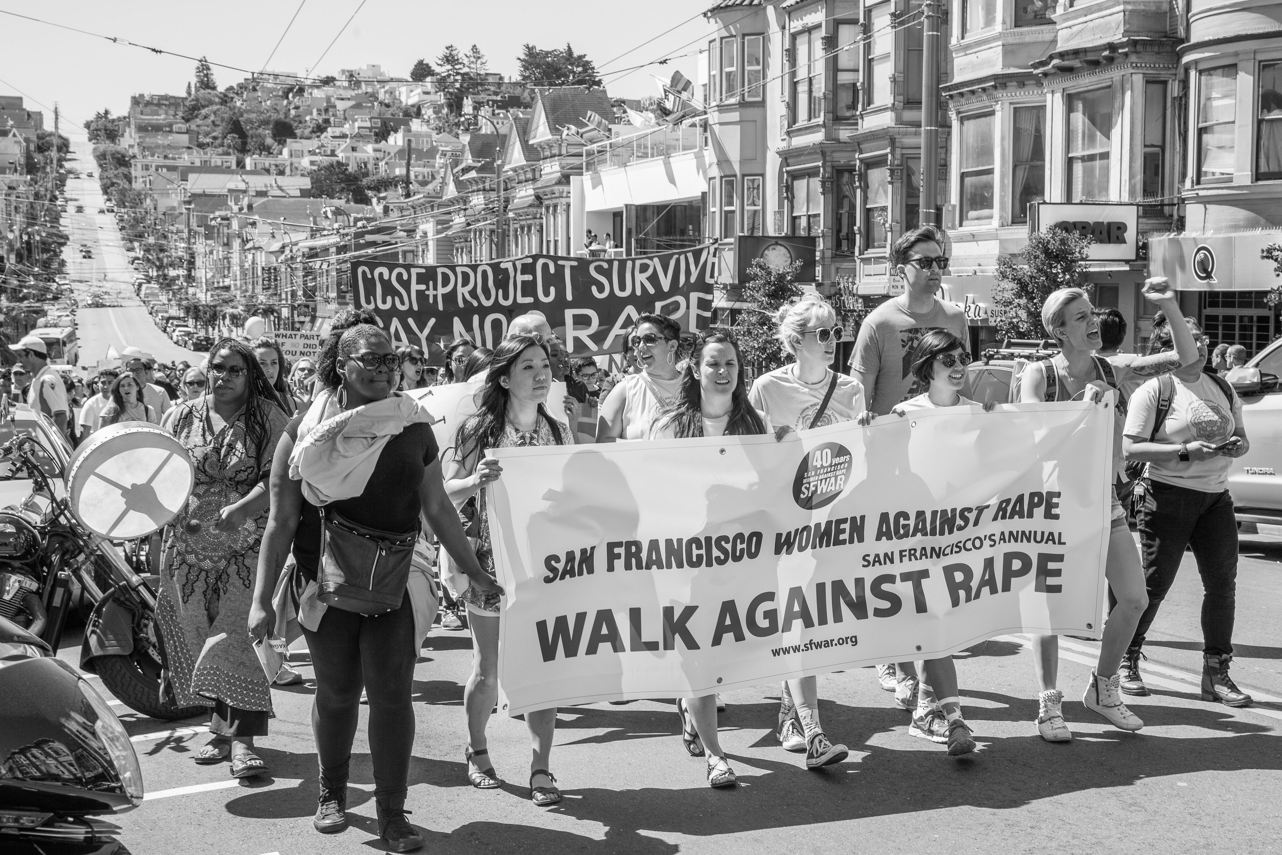 Protesters march to support the Walk Against Rape in The Mission District and Castro. Approximately 500 women and men participated in the demonstration on April 16th, 2016. (Agustina Perretta/Special to The Guardsman